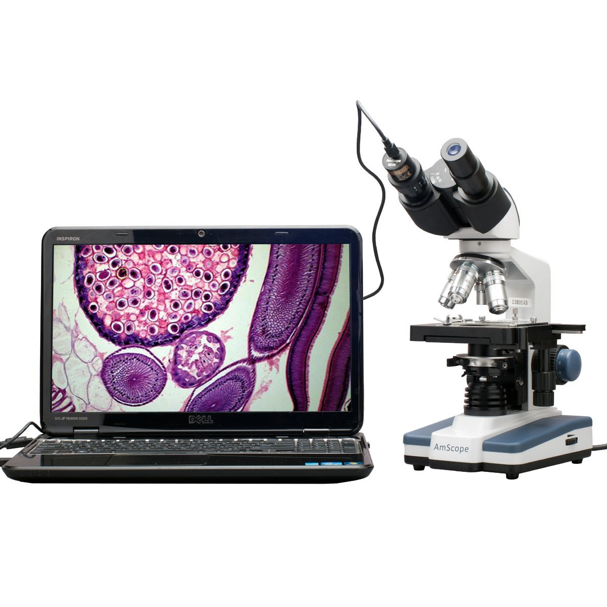 Amscope 40X-2500X LED Digital Binocular Microscope is a compound microscope with 3D Stage and 5MP Digital Camera