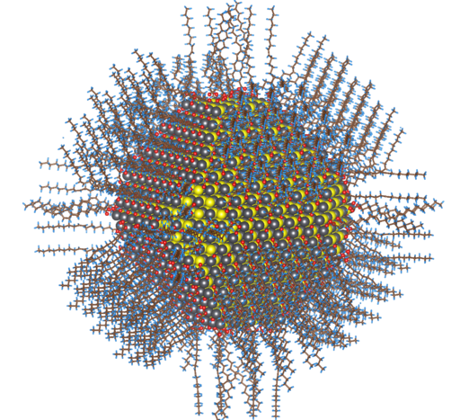 Complete atomistic model of the colloidal lead sulfide (selenide) nanoparticle by Zherebetskyy CC BY-SA 3.0 (https://creativecommons.org/licenses/by-sa/3.0)], via Wikimedia Commons