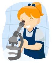 cartoon girl looking through microscope