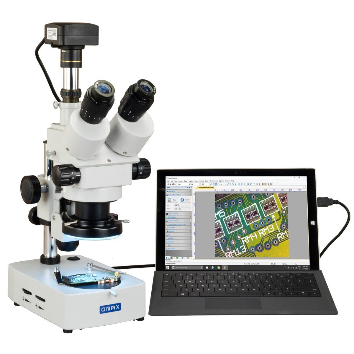 OMAX 3.5X-90X USB3 18MP Digital Trinocular Zoom Stereo Microscope   Desk Stand with 144-LED Light
