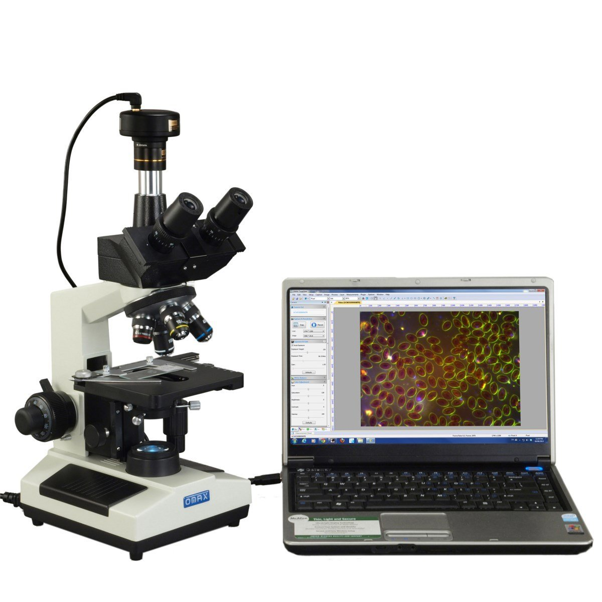 OMAX 40X-2500X Brighter Darkfield LED Trinocular Compound Microscope with 9MP Digital Camera