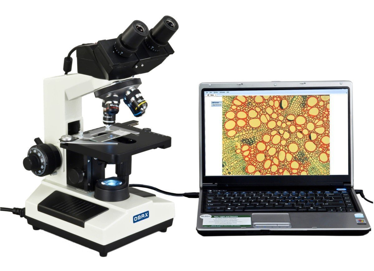 OMAX Built-in 3MP Camera 40X-2000X Digital Biological Compound Binocular LED Light Microscope with Double Layer Mechanical Stage Oil Immersion NA1.25 Condenser 3.0MP Camera