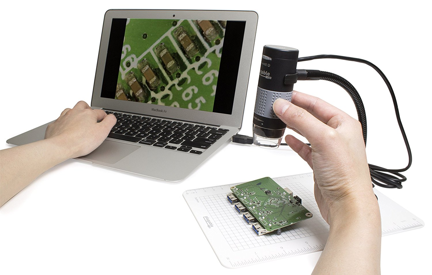 Plugable usb digital microscope with flexible arm